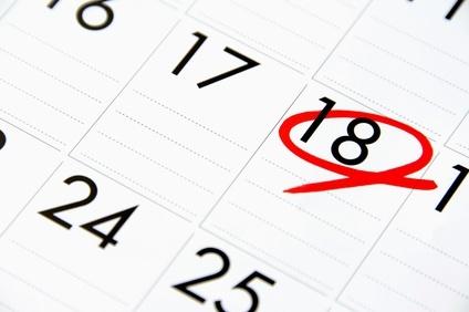 カレンダーに赤丸