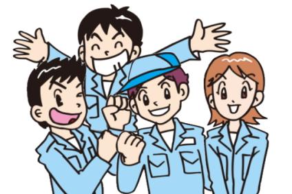 青の作業服を着た男女
