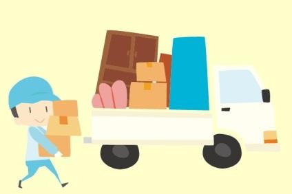 引っ越し用トラックとスタッフ