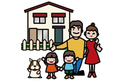 四人家族と犬