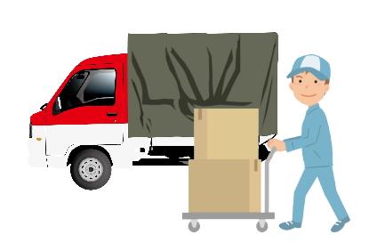 赤帽トラックと作業員