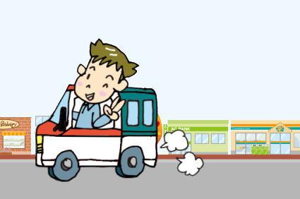 軽ドラックで移動する男性