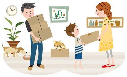 家族で荷物を運ぶ