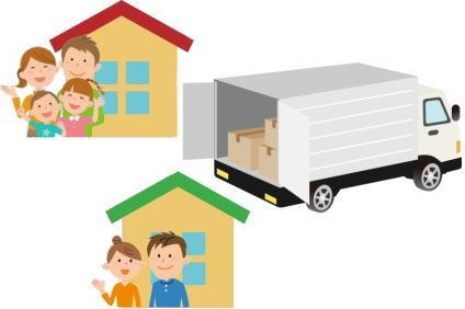 各家庭の荷物を運ぶトラック