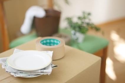 梱包資材とお皿