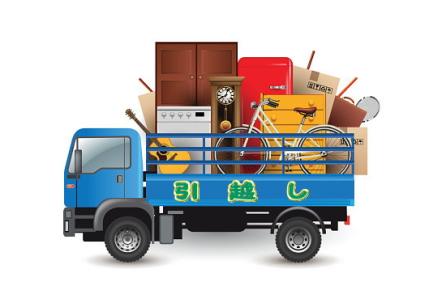 荷物を積んだ青いトラック