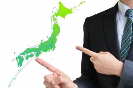 日本地図を指差す