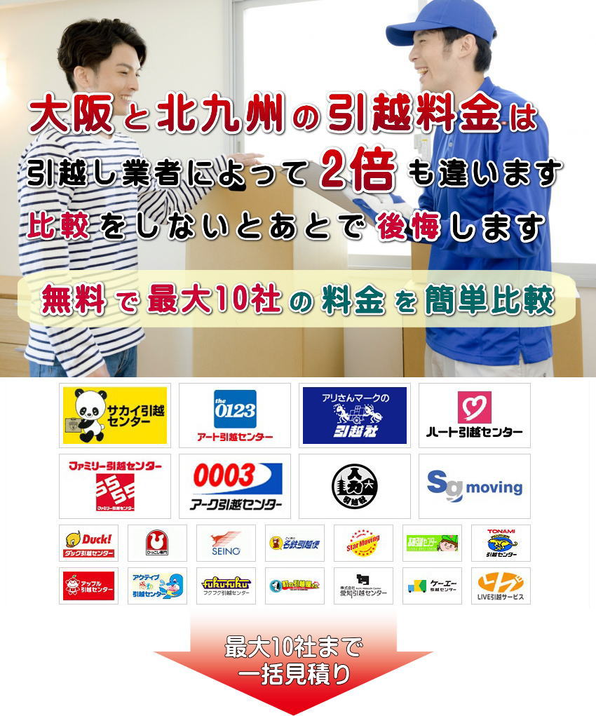 大阪と北九州の引越し料金