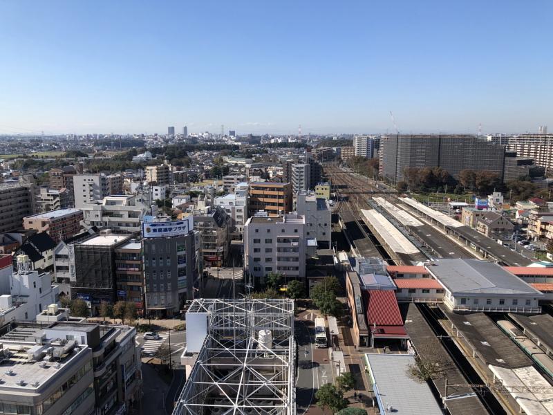 上空から見た我孫子市の市街地