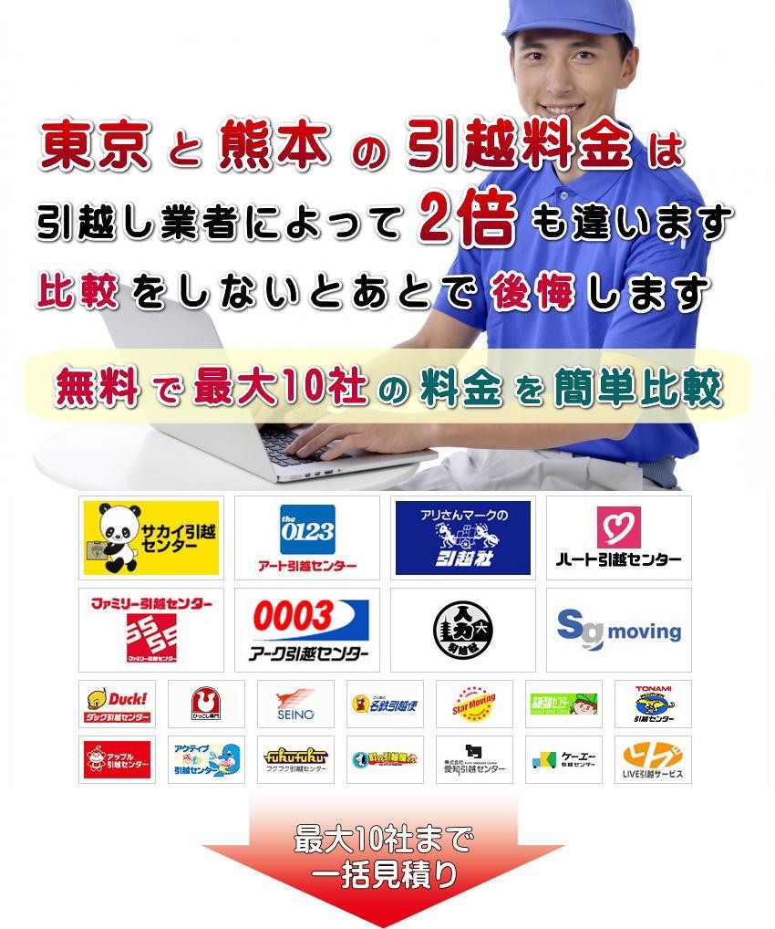 東京と熊本の引越し料金