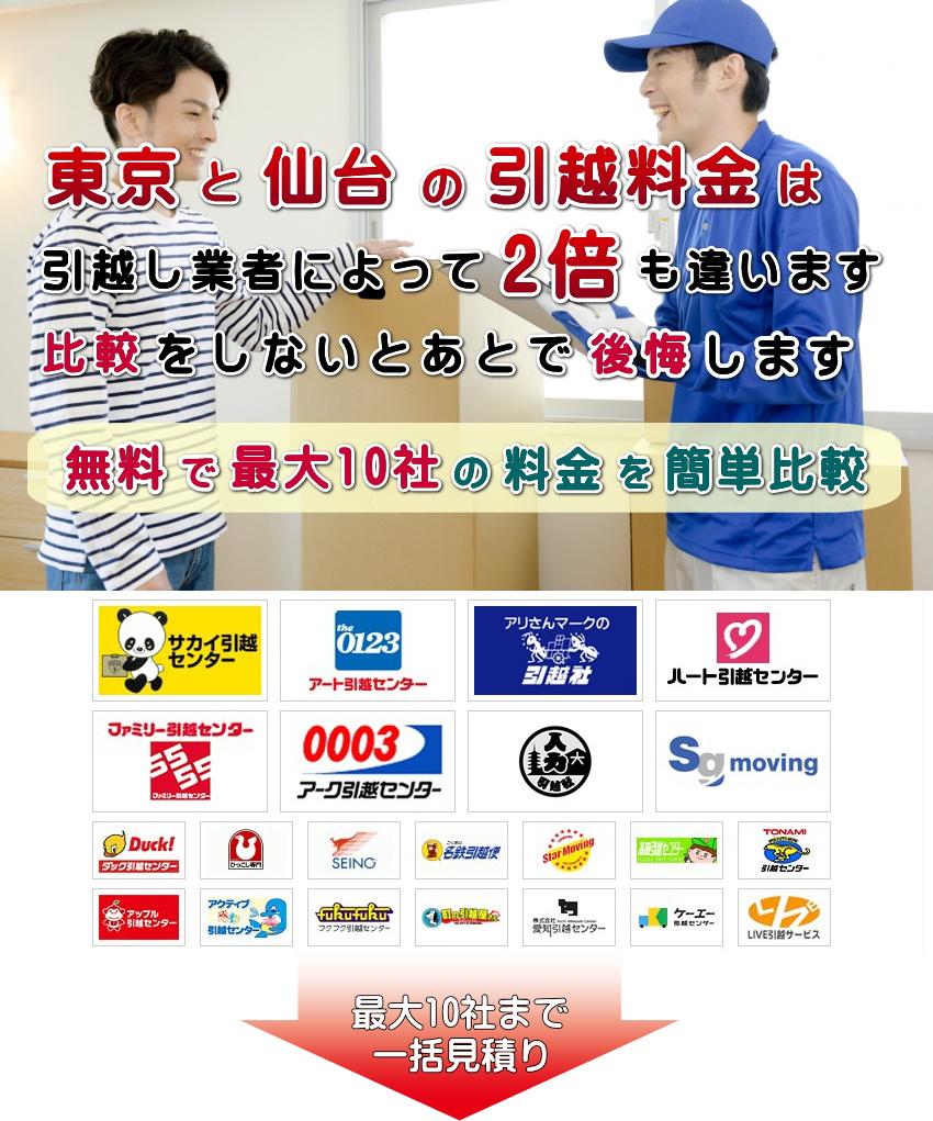 東京と仙台の引越し料金